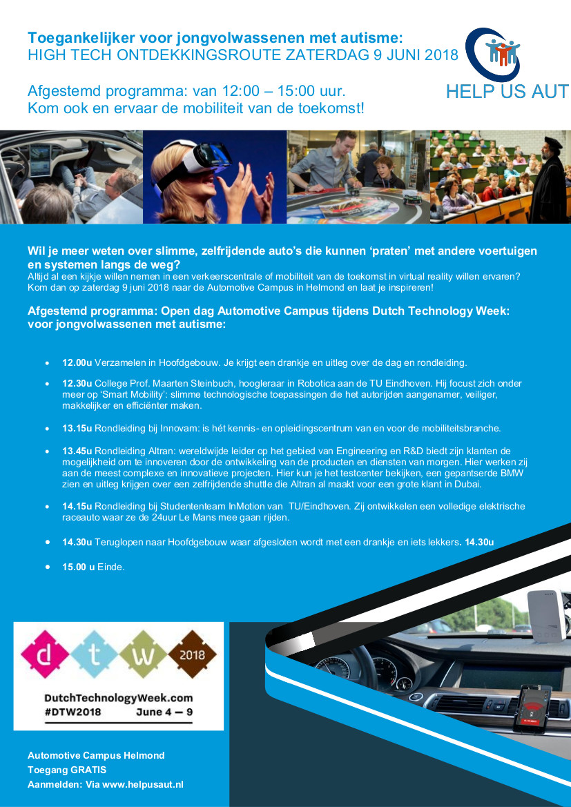 Flyer 9 juni 2018 High Tech Ontdekkingsroute Automotive Campus Helmond HelpUsAut